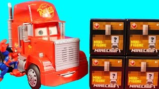 Disney Cars Mack Drops Off Minecraft Surprise Series 2 Toys To Spider-man House