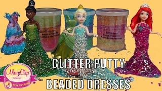 Glitter Slime Putty Princess Magiclip Dresses Beaded.  Princess Ariel Elsa  Tiana Elssa educativo