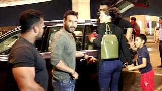 Ajay Devgan With Family - Wife Kajol & Son Yug At Airport