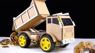How to make RC Dump Truck from Cardboard - Mr H2 Diy Remote Control Car at home