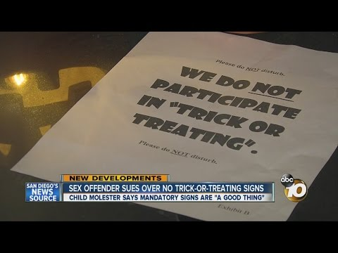 Sex offender sues over no trick-or-treating signs