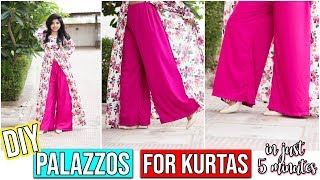 DIY: Make Palazzo from Old Saree/Fabric for Kurtis In literally 5 minutes!!