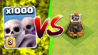 Clash Of Clans - 1000 SKELETONS vs BOMB TOWER!! - NEW UPDATE GAME PLAY!