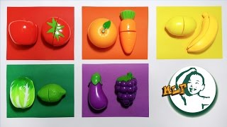 Colors for children to learn with toy velcro cutting fruits and vegetables