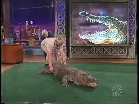 Jay Leno almost bitten by Alligator Steve Irwin 2002