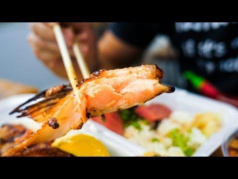 JUICY KING SALMON BELLY and Japanese Hawaii Food at Maguro Brothers in Honolulu Hawaii