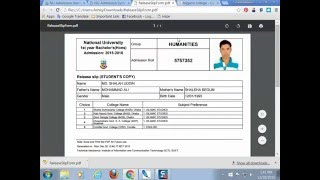 How to Apply Honours Applicant's  Release Slip  www.nu.edu.bd 