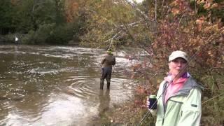 FAMOUS WOMEN FISHERMAN - RHONDA KURTH LANDS NICE SALMON - BETSIE RIVER - HOMESTEAD DAM