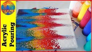 (94) Rainbow acrylic swipe painting with a double swipe