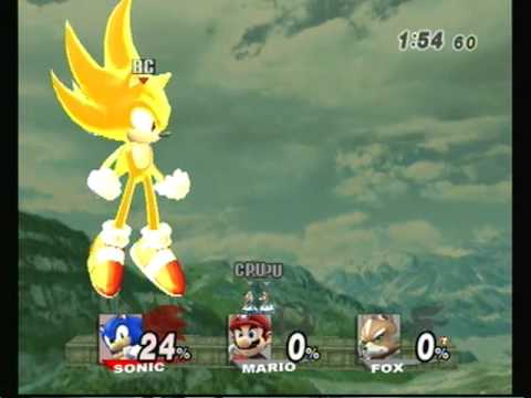 Brawl Hacks Giant Growing Sonic Super Sonic v.s. Mario & Fox