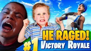 LITTLE KID SQUEAKER AND THE SQUAD *TROLL* MY 10 YEAR OLD BROTHER! (HE RAGED!) FORTNITE BATTLE ROYALE