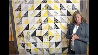 Scrap Quilt Tutorial: HoneyComb Quilt with Half-Square Triangles - Fast and Easy!!