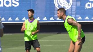 Ball work and physical training in preparation for the start of La Liga