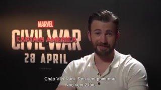 Dàn sao Captain America: Nội Chiến Siêu Anh Hùng gởi lời chào khán giả Việt