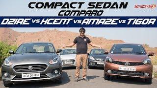 Maruti Suzuki Dzire Vs Tata Tigor Vs Hyundai Xcent Vs Honda Amaze   Detailed Comparison