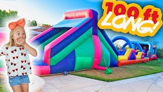 Everleigh Came Home From School and We Surprised Her With a 100 FT Bounce House In Our Backyard!!!