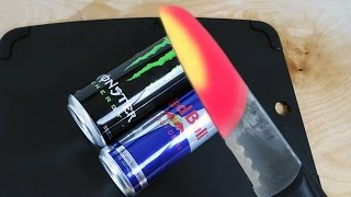 EXPERIMENT Glowing 1000 degree KNIFE VS MONSTER & RED BULL