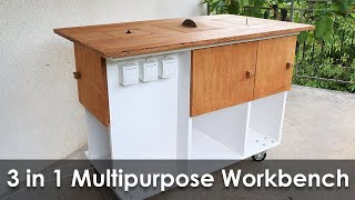 Homemade 3 in 1 Multipurpose Workbench: Table Saw, Router Table and Inverted Jigsaw (Free Plans)
