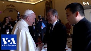 Moon Jae-In Meets With Pope Francis