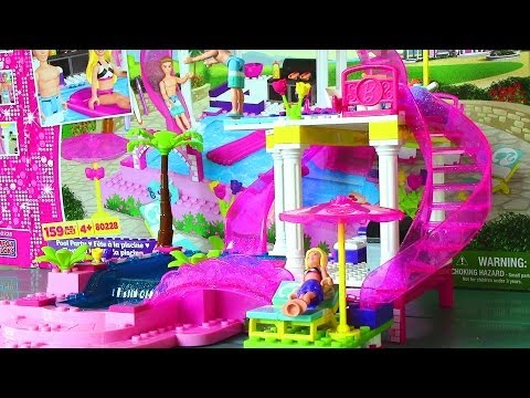 Mega Bloks Barbie Pool Party with Barbie Doll and Ken Doll Life in a Dream House