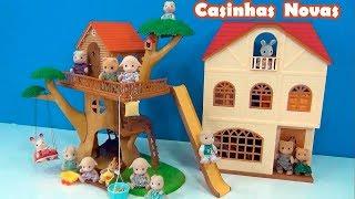 Casa da árvore e Casa 3 histórias Sylvanian Families - Tô brincando com a tia Cris - Casa de Bonecas