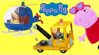 PEPPA PIG Goes to Fair with Help From Daddy, Tow Truck & Helicopter