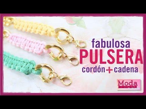 Cómo hacer una pulsera con cadena y cordón Kit 23187