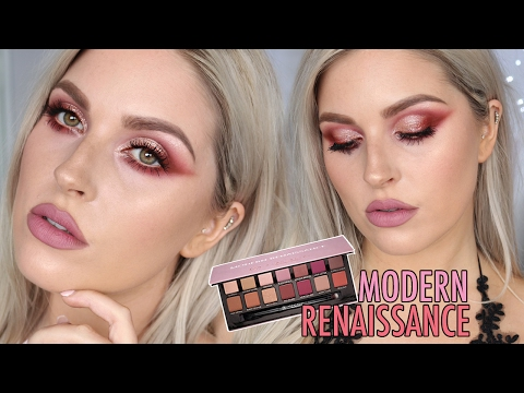 Modern Renaissance Palette Makeup Tutorial 🌹 WARM RED & METALLIC EYESHADOW 😍