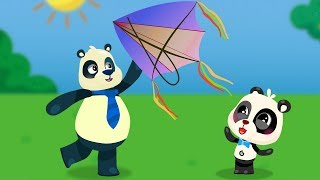 Panda Family at the Picnic. Daddy Panda Play with Paper Plane