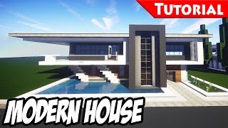 Minecraft: Easy Modern House / Mansion Tutorial #5 + DOWNLOAD - 1.8 [ How to make ]