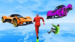 EXTREME Cars vs Runners Tightrope! - GTA 5 Funny Moments