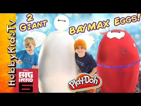 Worlds 2 Biggest BAYMAX Eggs Epic Toys Inside Big Hero 6 Disney by HobbyKidsTV