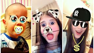 Kids React On Snapchat Filters - Learn Animals for Babies with Children - Funny Baby Videos
