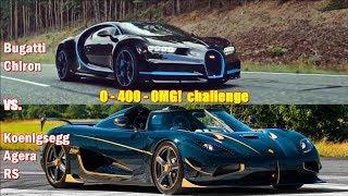 1360hp Koenigsegg Agera destroys 1500hp Bugatti Chiron in 0-400-0 challenge!!!