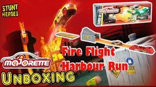 MAJORETTE STUNT HEROES Fire Flight Sprungschanze, Spielzeug, Harbour Run Abschussrampe inkl. AUTO