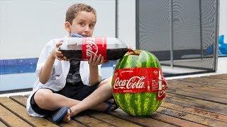 PAULINHO CIENTISTA  e a Melancia com Coca Cola e Mentos - Experiencia para Crianças