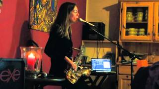 Emma plays sax and sings at 'Rio', Vorno, Lucca, Italy.