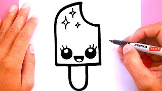How to draw a cute Ice cream pop, Draw cute things