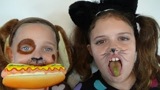 Bad Baby Kitty vs Puppy Gross Food Victoria & Annabelle Toy Freaks Hidden Egg