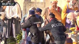 FEMEN fatale: Topless activist arrested while trying to steal baby Jesus from nativity scene