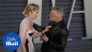 Selma Blair cries in a rainbow cape at Vanity Fair Oscar bash