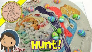 Easter Egg Slime Hunt! DIY Mixing Rainbow Colors