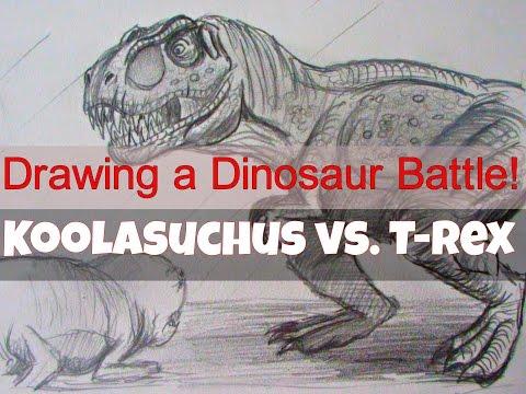 How to Draw a Dinosaur Battle. T. rex vs Koolasuchus. Jurassic World the Game