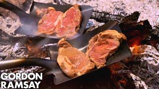 Gordon Ramsay Cooks Steak On A Shovel