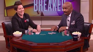 Steve Harvey takes on poker champ Vanessa Selbst || STEVE HARVEY