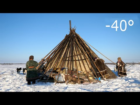 Warmest Tent on Earth Pitching in the Siberian Arctic Winter Не� ецкая палатка чум
