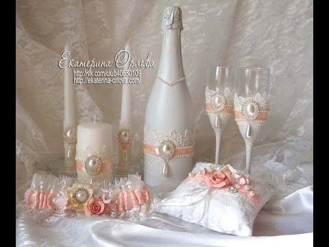 Декорирование бокалов к свадьбе