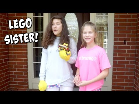 LEGO Sister in Real Life Giant Lego Learns to Love SuperHero Kids Funny Skit