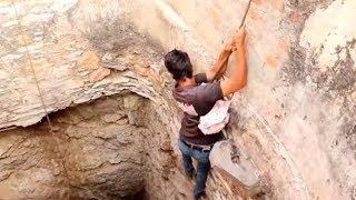 عبيد العوني والبطل محمد الشويش ينقذون حمامة  سقطت في البئر