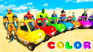 FUN LEARN COLORS LITTLE CARS BALL PIT Jumping  w/ SUPERHEROES For Childrean Nursery Rhymes